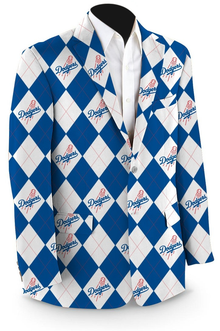 Dodgers Argyle White Men's Sport Coat MTO