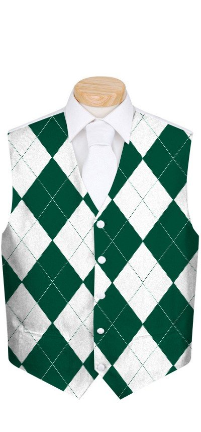Green & White Argyle Men's Vest MTO