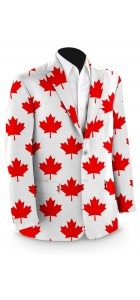 Canada Maple Leaf White StretchTech Men's Sport Coat MTO