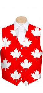 Canada Maple Leaf White StretchTech Men's Vest MTO