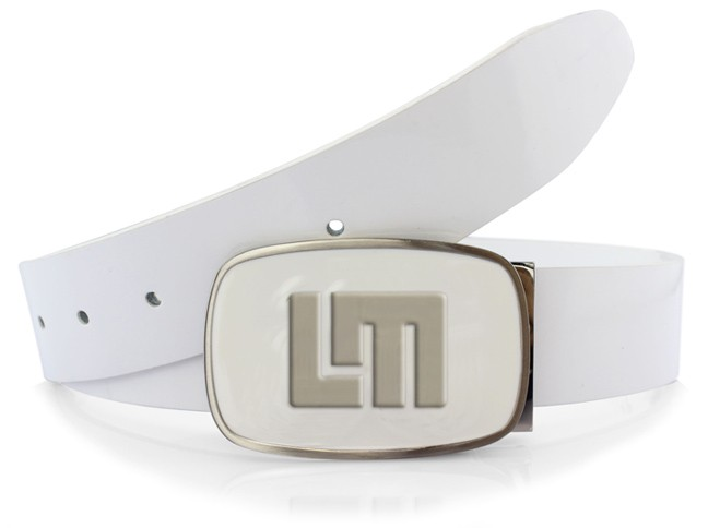 A Polished White Patent Leather Belt up to size 40""