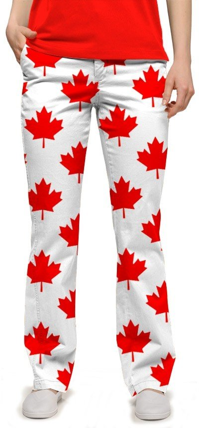 Canada Maple Leaf White StretchTech Women's Capri/Pant MTO