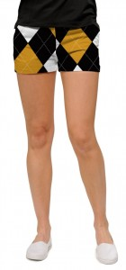 Black & Gold Argyle StretchTech Women's Mini Short MTO