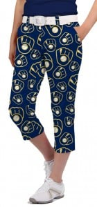 Brewers Retro Navy StretchTech Women's Capri/Pant MTO