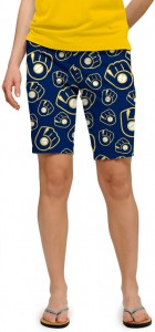 Brewers Retro Navy StretchTech Women's Bermuda Short MTO