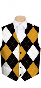 Black & Gold Argyle StretchTech Men's Vest MTO