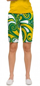 Green & Gold Splash Women's Bermuda Short MTO