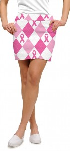 Pink Ribbon Argyle StretchTech Women's Skort/Skirt MTO